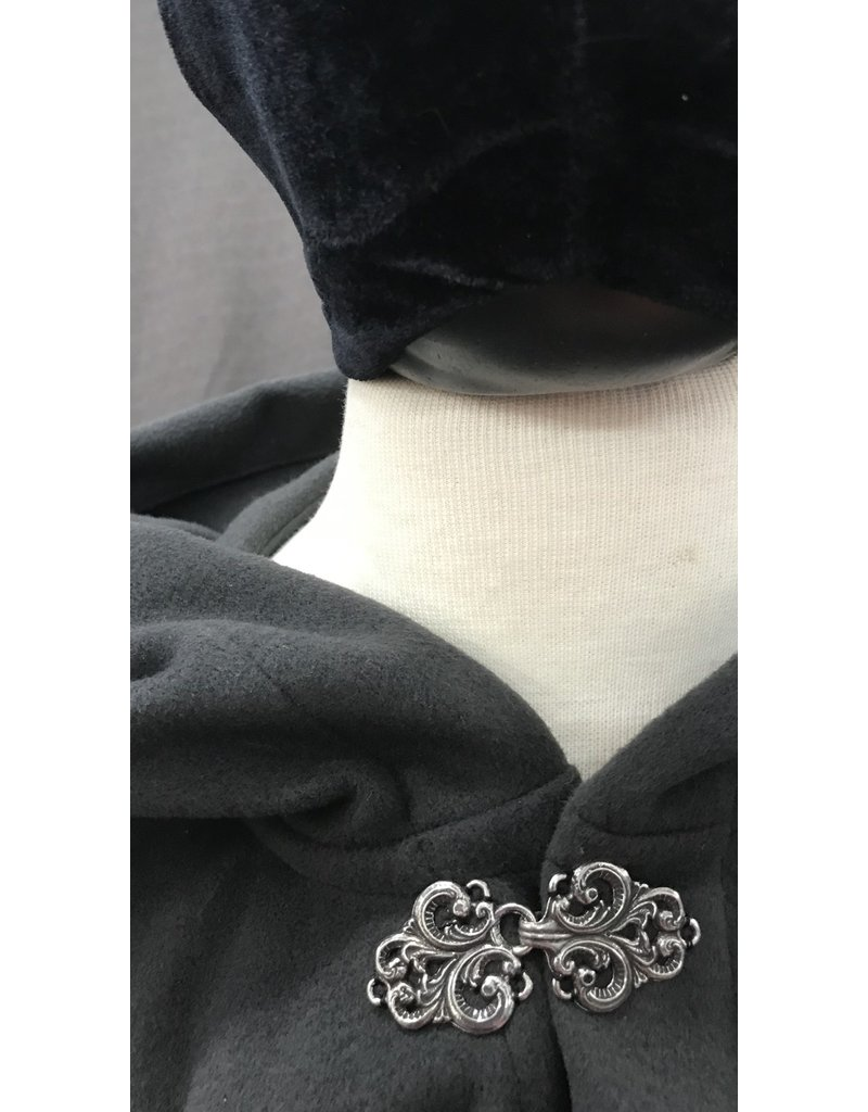 Cloak and Dagger Creations 4184 - Smoke Grey Wool Blend Short Cloak, Unlined Hood, Pewter Vale Clasp