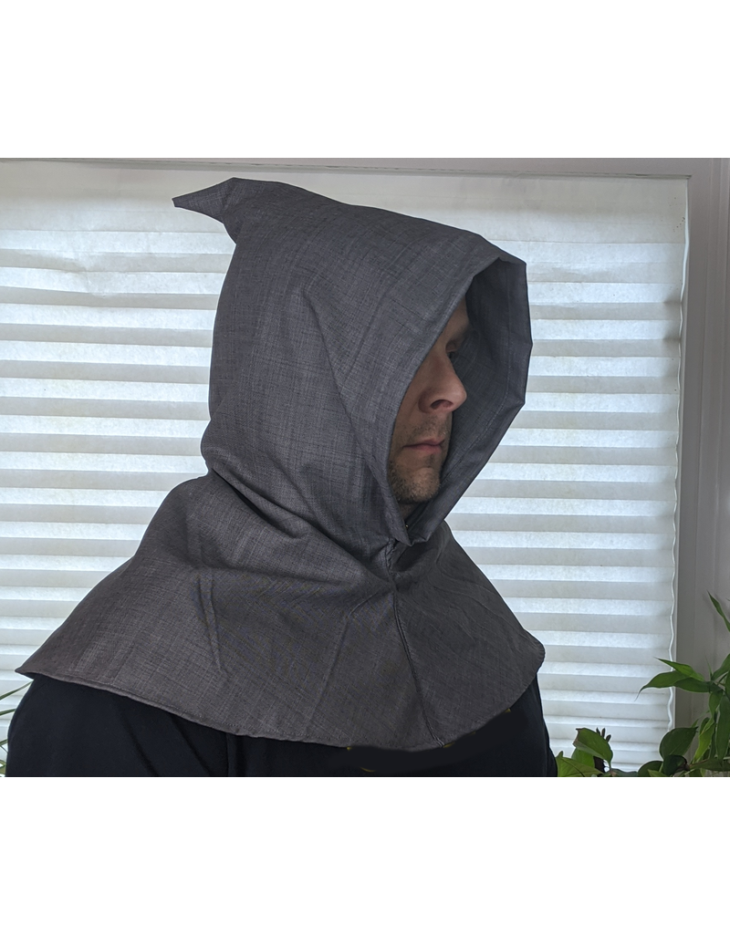 Cloak and Dagger Creations H246 - Hood in Medium Grey Linen-look Wool, Lightweight, with Pointed Hood