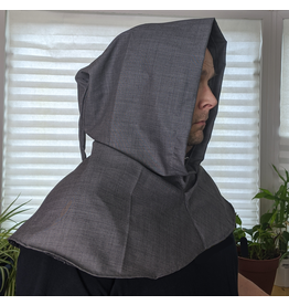 Cloak and Dagger Creations H249 - Large Grey Lightweight Wool Hooded Cowl w/ Pointed Hood