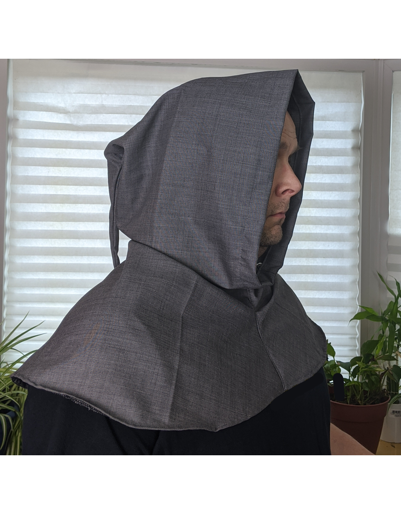 Cloak and Dagger Creations H249 - Large Grey Lightweight Wool Hooded Cowl w/Pointed Hood