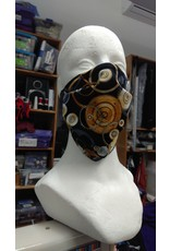 Cloak and Dagger Creations 3 Layer Face Mask - Gears - Folded,rectangular, Cotton and Silk, with elastic ties