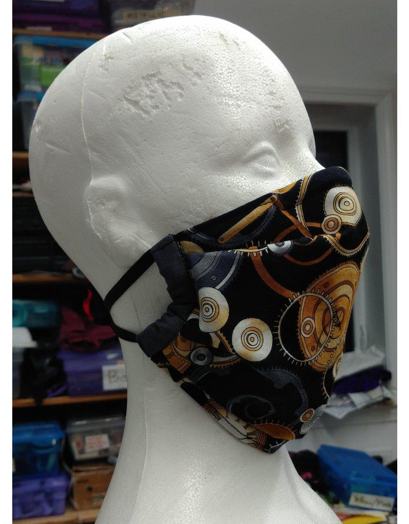Cloak and Dagger Creations 3 Layer Face Mask - Dark Gears - Cotton & Silk