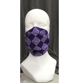 Cloak and Dagger Creations 3 Layer Pleated Face Mask - Purple Celtic Knot - 100% Cotton Outer, Silk Inside