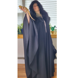 Cloak and Dagger Creations 4215 - Black Wool Blend Full Circle Cloak w/Fur Mantle, Fur Edged Hood, Silver-plated Oak Leave Clasp w/Chain