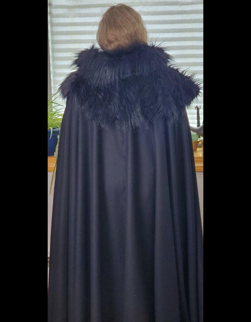 Cloak and Dagger Creations 4215 - Black Wool Blend Full Circle Cloak w/Fur Mantle, Fur Edged Hood, Silver-plated Oak Leave Clasp w/Chain