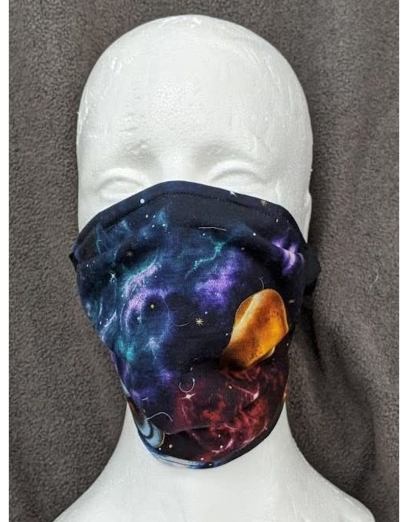 Cloak and Dagger Creations 3 Layer Pleated Face Mask -  Planets Fabric - Cotton and Silk