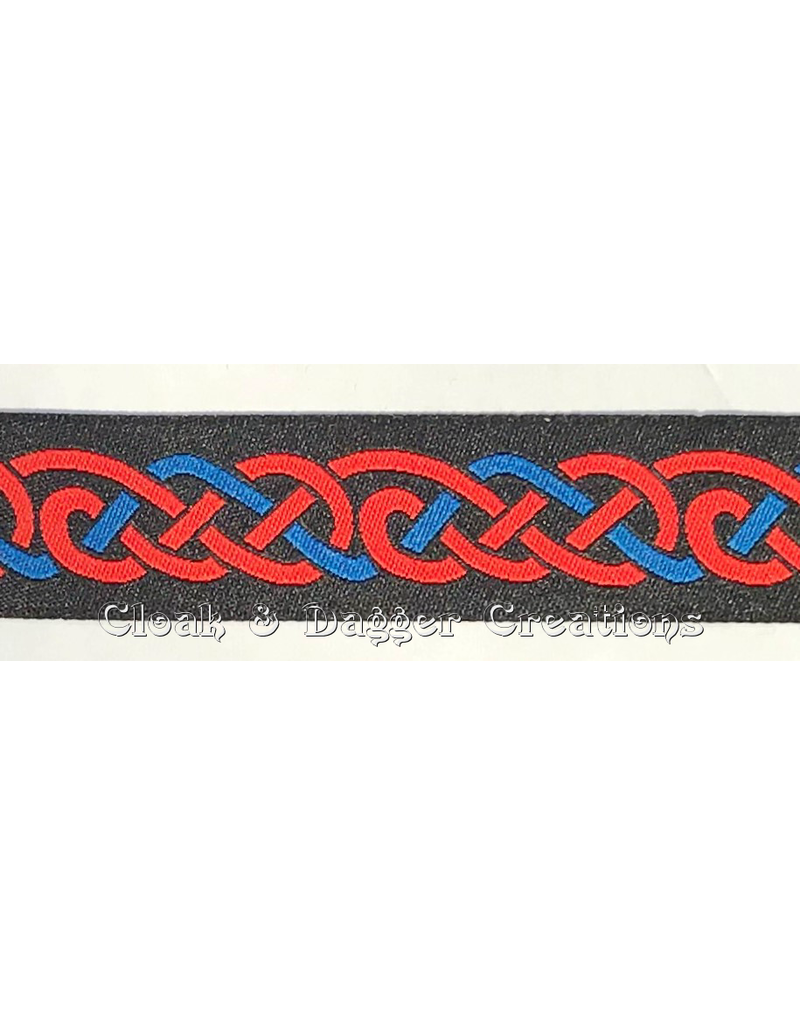 Cloak and Dagger Creations Celtic Knot Trim, Red and Blue on Black
