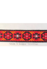 Cloak and Dagger Creations Early Period Woven Flower Trim, Red/Orange on Black