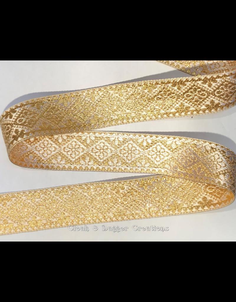 Cloak and Dagger Creations Floral Diamonds Trim, Gold/Cream (Reversible!)
