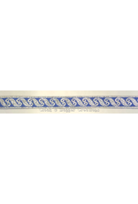 Scrollwork Narrow Trim silver on Blue