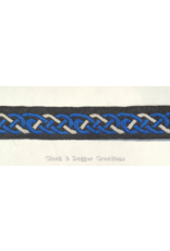 Cloak and Dagger Creations Celtic Knot Trim - Royal Blue and White on Black