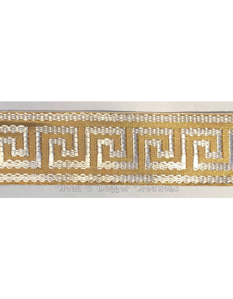 Cloak and Dagger Creations Greek Key Wide Woven Trim Gold on White