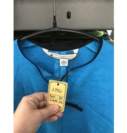 Cloak and Dagger Creations J706 - Turquoise Blue Linen Teen Tunic, Keyhole Neckline, Black Edging