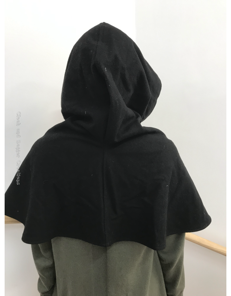 Cloak and Dagger Creations H241 -  Hood in Black 100% Wool, Mediumweight