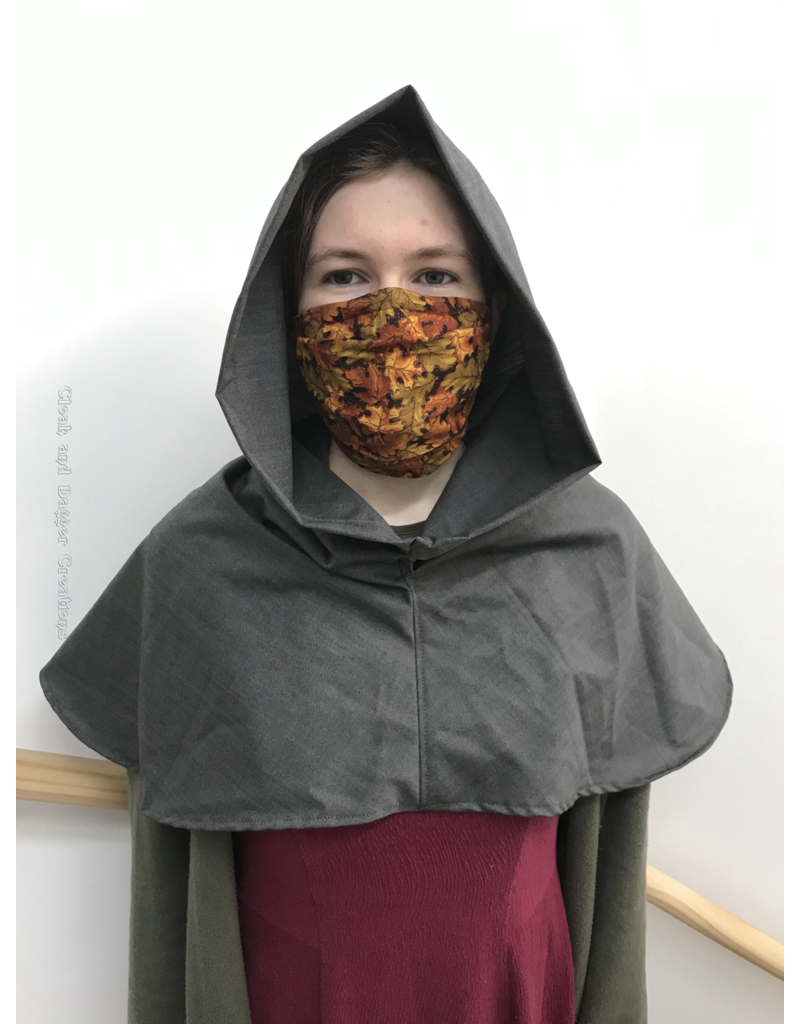 Cloak and Dagger Creations H249 -Hood in Stone Grey, Summerweight with Liripipe