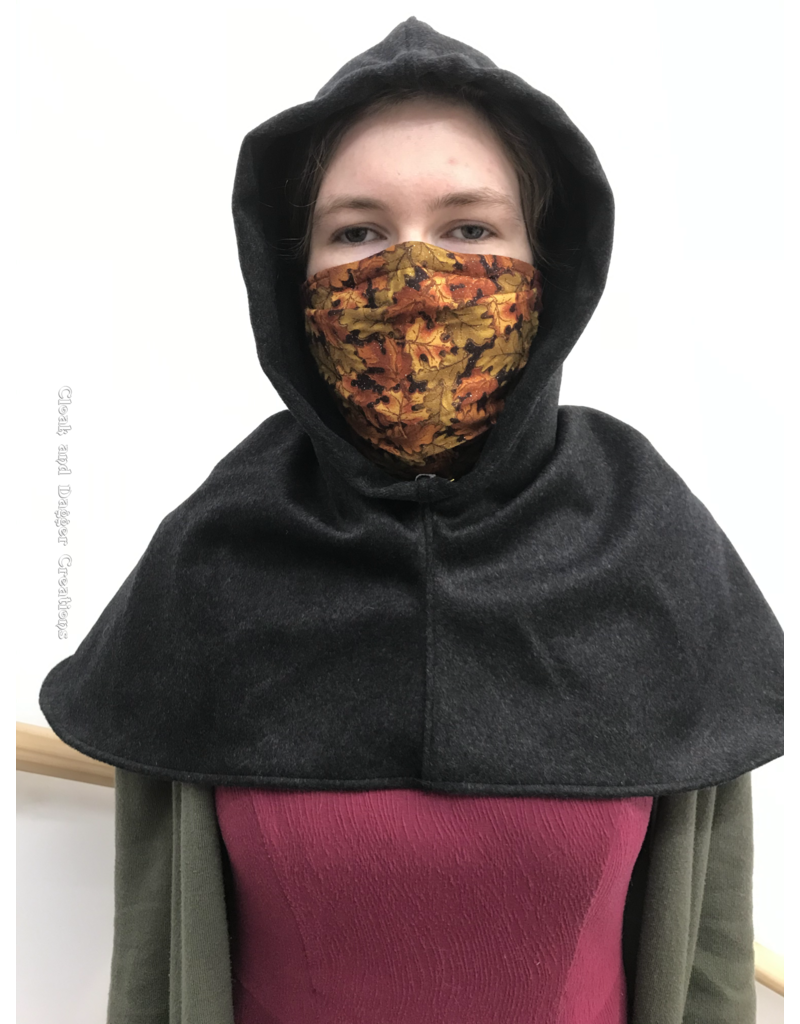 Cloak and Dagger Creations H252 -Hood in Black 100% Wool, Mediumweight