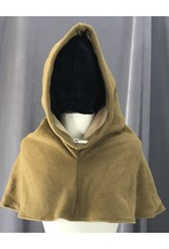 Cloak and Dagger Creations H196 - Tawny Brown Windpro Fleece Pointed Hooded Cowl w/Brown Sugar Self Lining