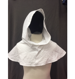 Cloak and Dagger Creations H255 - Easy Care White Cotton Hooded Cowl