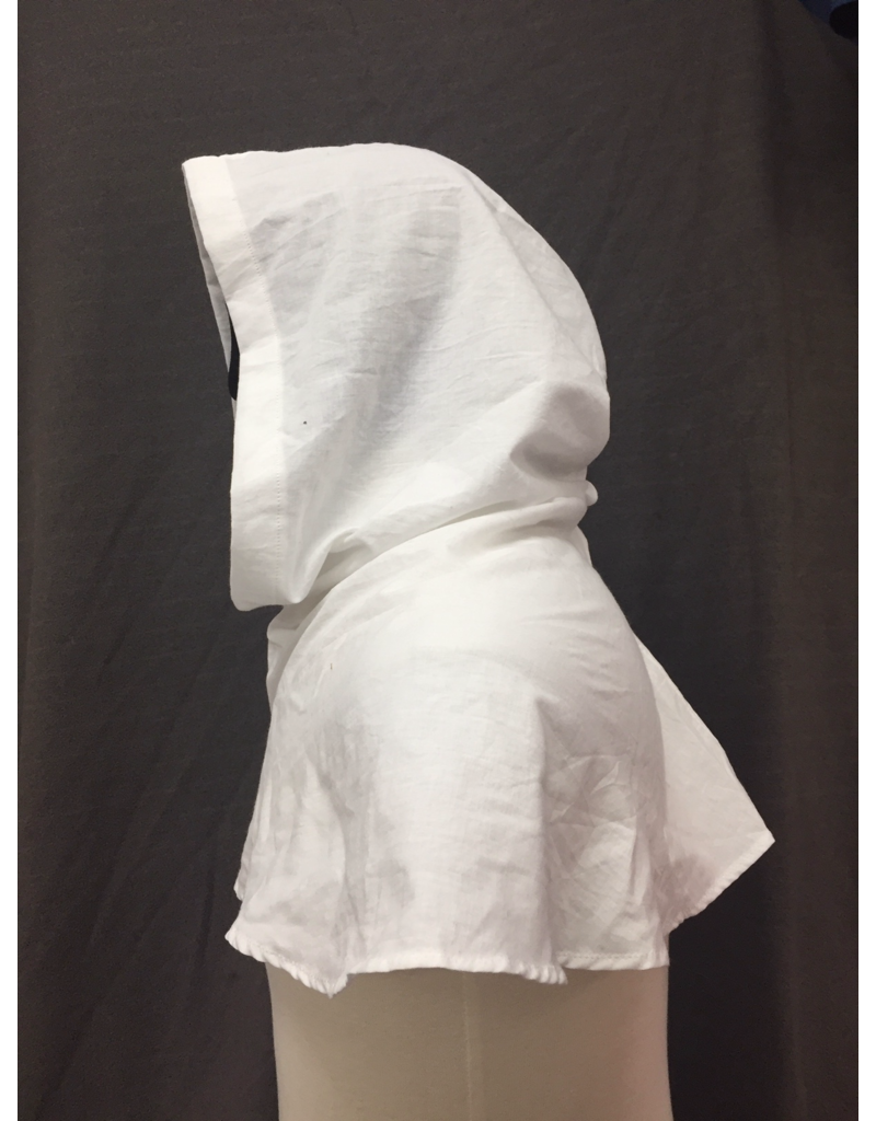Cloak and Dagger Creations H255 - Hood in White Cotton, Summerweight, Easy Care