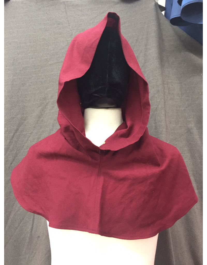 Cloak and Dagger Creations H259 - Hood in Burgundy 100% Wool, Summerweight