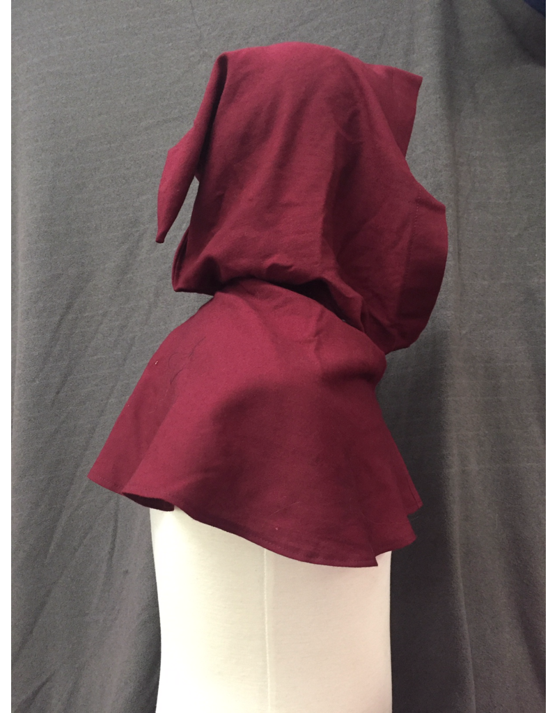 Cloak and Dagger Creations H256 - Hood in Burgundy Red, 100% Wool Lightweight, with Liripipe