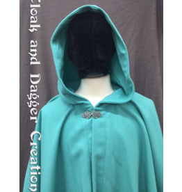Cloak and Dagger Creations 4227 - Dark Minty Green Cloak, Wool Blend Flannel, Pewter Vale-type Clasp