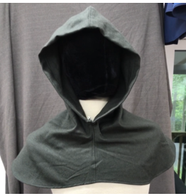 Cloak and Dagger Creations H262- Hood in Grey-Green Wool Blend, Lightweight