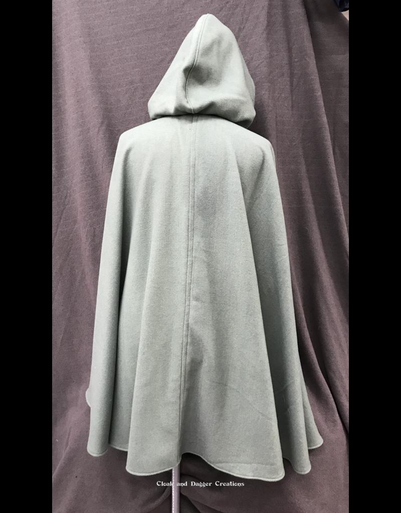 Cloak and Dagger Creations 4226 - Sea Foam Green Cloak, Wool Blend, Matching MicrofiberHood lining, Pewter vale-type clasp