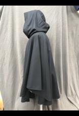 Cloak and Dagger Creations 4230 - Black Wool Ruana Cloak, w/Blue-Green Velvet Hood Lining, Pewter Vale Clasp