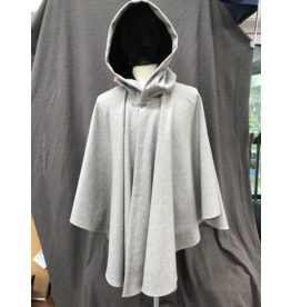 Cloak and Dagger Creations 4232 - Heathered Grey Ruana-Style Full Circle Wool Cloak, Black Velvet Hood Lining, Pewter Vale-type Clasp