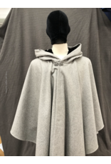Cloak and Dagger Creations 4232 - Heathered Grey Ruana-Style Full Circle Wool Cloak, Black Velvet Hood Lining, Pewter Vale-type Clasp