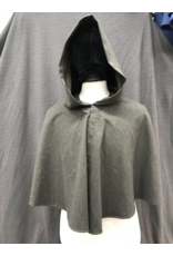 Cloak and Dagger Creations 4239 - Easy Care Heathered Coffee Brown Short Shaped-Shoulder Cloak, Pewter Vale Clasp