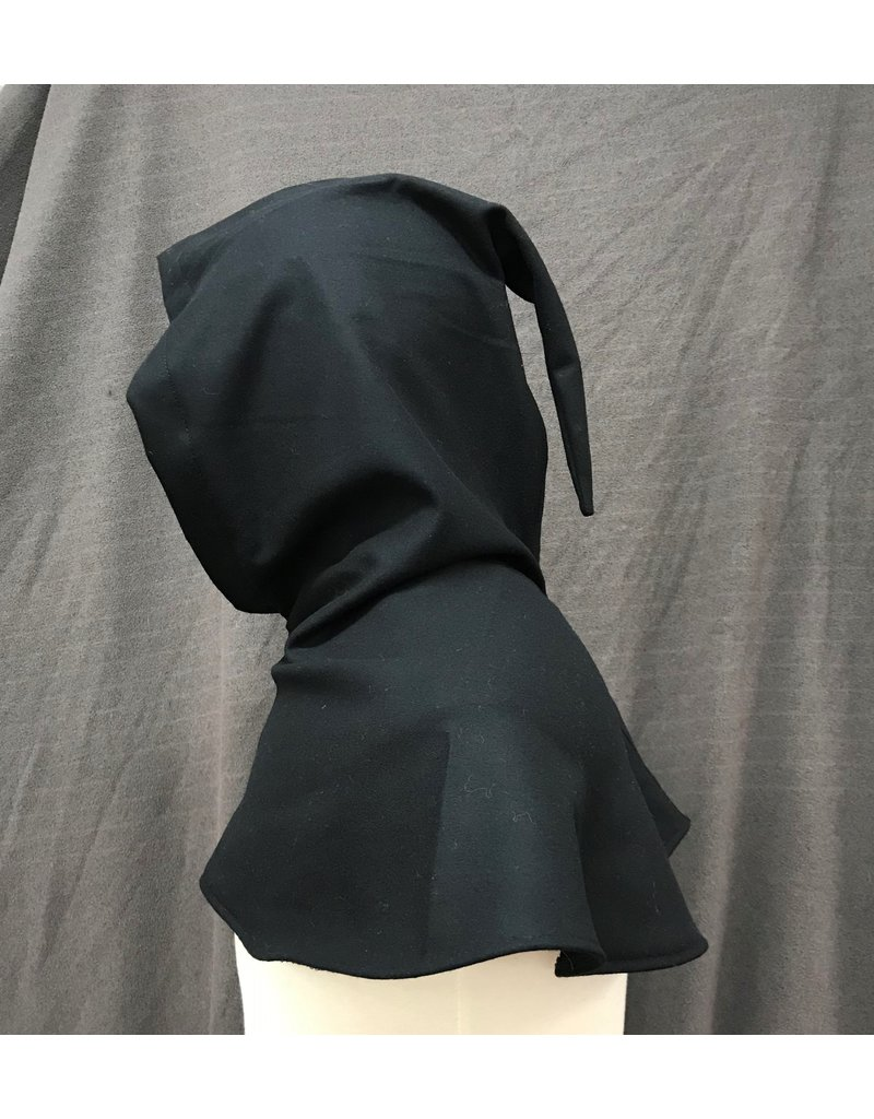 Cloak and Dagger Creations H268- Hood in Black Wool Blend, Mediumweight