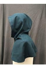 Cloak and Dagger Creations H260- Hood in Blue-Green Wool Blend, Medium-Weight