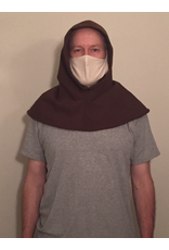 Cloak and Dagger Creations H265- Hood in Earth Brown 100% Wool with Liripipe, Lightweight