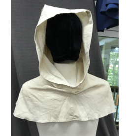 Cloak and Dagger Creations H225- Hood in White&Tan 100% Linen, summerweight