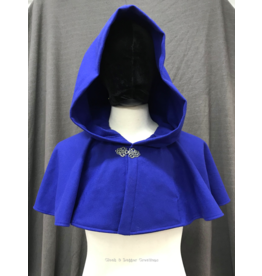 Cloak and Dagger Creations 4247 - Indigo Blue Short Wool Cloak w/Pockets, Pewter Vale Clasp