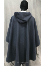Cloak and Dagger Creations 4245 - Navy Blue Ruana-Style Cloak w/Vibrant Blue Hood Lining, Pewter Triple Medallion Clasp