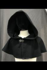 Cloak and Dagger Creations 4248 - Black Wool Shaped Shoulder Short Cloak, Pewter Vale Clasp