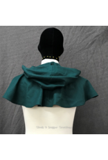 Cloak and Dagger Creations 4242 - Pine Green Wool Short Cloak w/Pockets, Pewter Vale Clasp