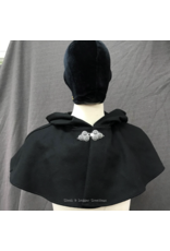 Cloak and Dagger Creations 4244 - Black Wool Shaped Shoulder Short Cloak, Pewter Triple Medallion Clasp