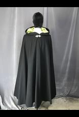 Cloak and Dagger Creations 4212 - Black Wool? Full Circle Cloak, Pear Green Velvet Hood Lining, Pewter Triple Medallion Claso