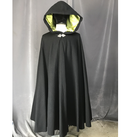 Cloak and Dagger Creations 4212 - Black Wool Full Circle Cloak, Pear Green Velvet Hood Lining, Pewter Triple Medallion Claso