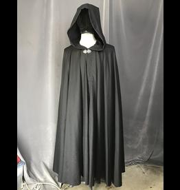 Cloak and Dagger Creations 4210 - Black Twill Full Circle Cloak, Liripipe Hood, Pewter Vale Clasp