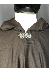 Cloak and Dagger Creations 4213  - Chocolate Brown Shaped Shoulder Ruana-style Cloak, Pewter Vale Clasp
