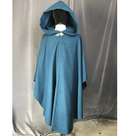 Cloak and Dagger Creations 4183 - Ocean Blue Shaped Shoulder Ruana Style Cloak, Unlined Hood, Pewter Triple Medallion Clasp