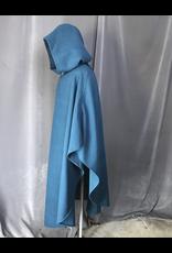 Cloak and Dagger Creations 4183 - Ocean Blue Shaped Shoulder Ruana Style Cloak, Unlined Hood, Pewter Triple Medallion Clasp