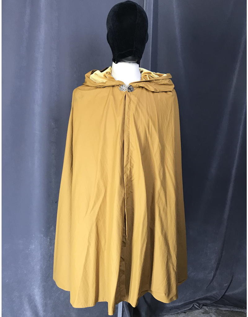 Cloak and Dagger Creations 4085 - Golden Brown Washable Shaped Shoulder Water-Resistant Cloak, Gold Velveteen Hood Lining, Pewter Vale Clasp