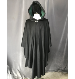 Cloak and Dagger Creations 4207 - Black Wool Blend Ruana-Style Cloak, Pine Green Velvet Hood Lining, Pewter Vale Clasp