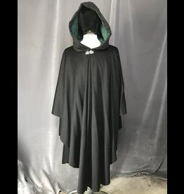 Cloak and Dagger Creations 4207 - Black Wool Blend Ruana-Style Cloak, Pine Green Velvet Hood Lining, Pewter Vale Clasp